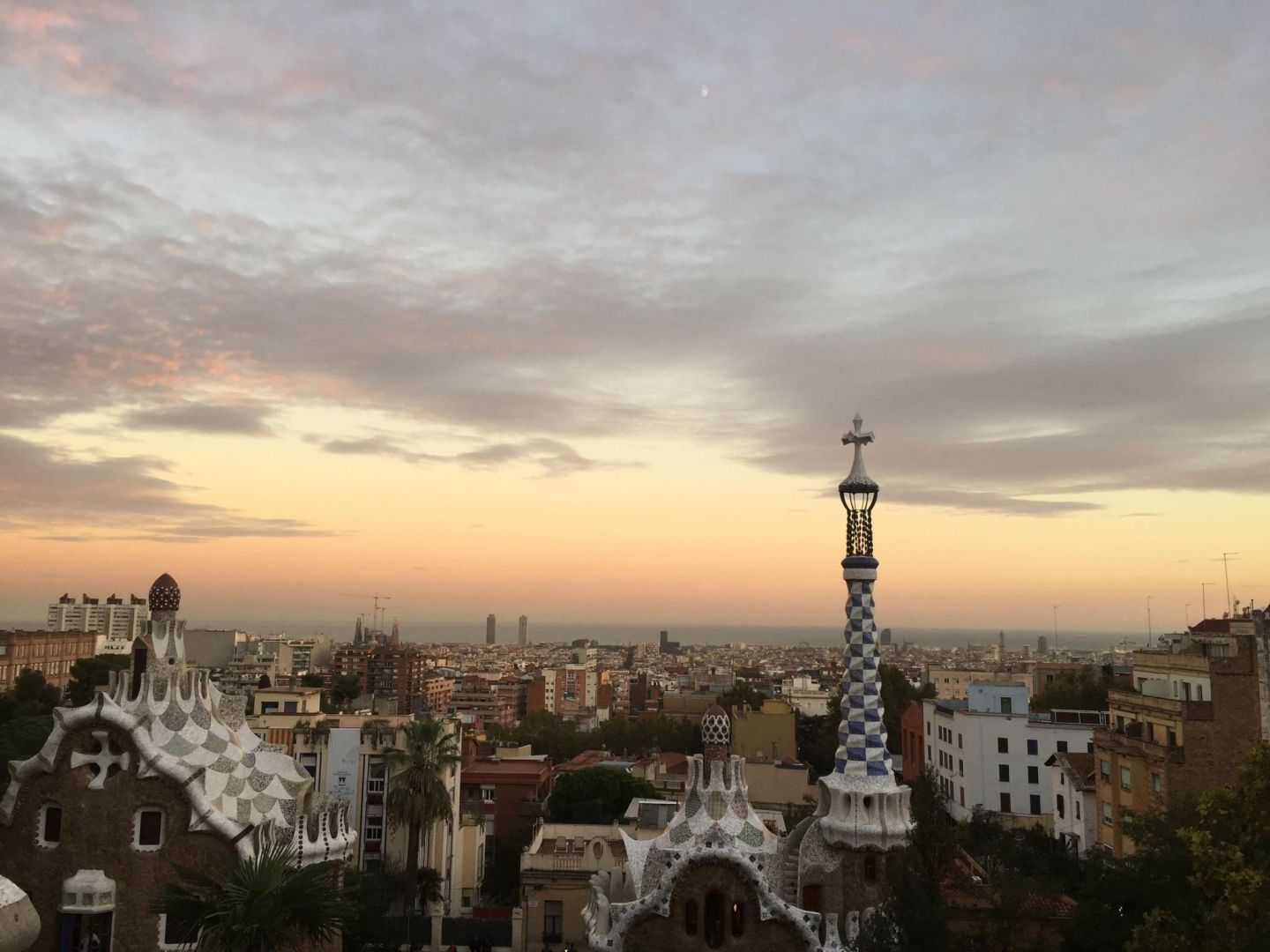 Sunset over Parc Guell, Barcelona