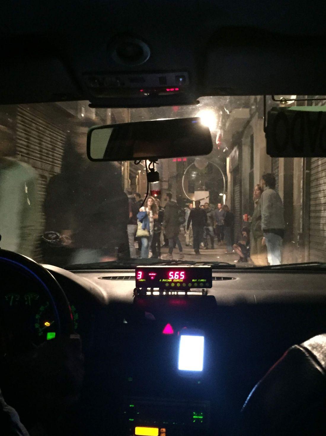 Taxi through La Rambla, Barcelona