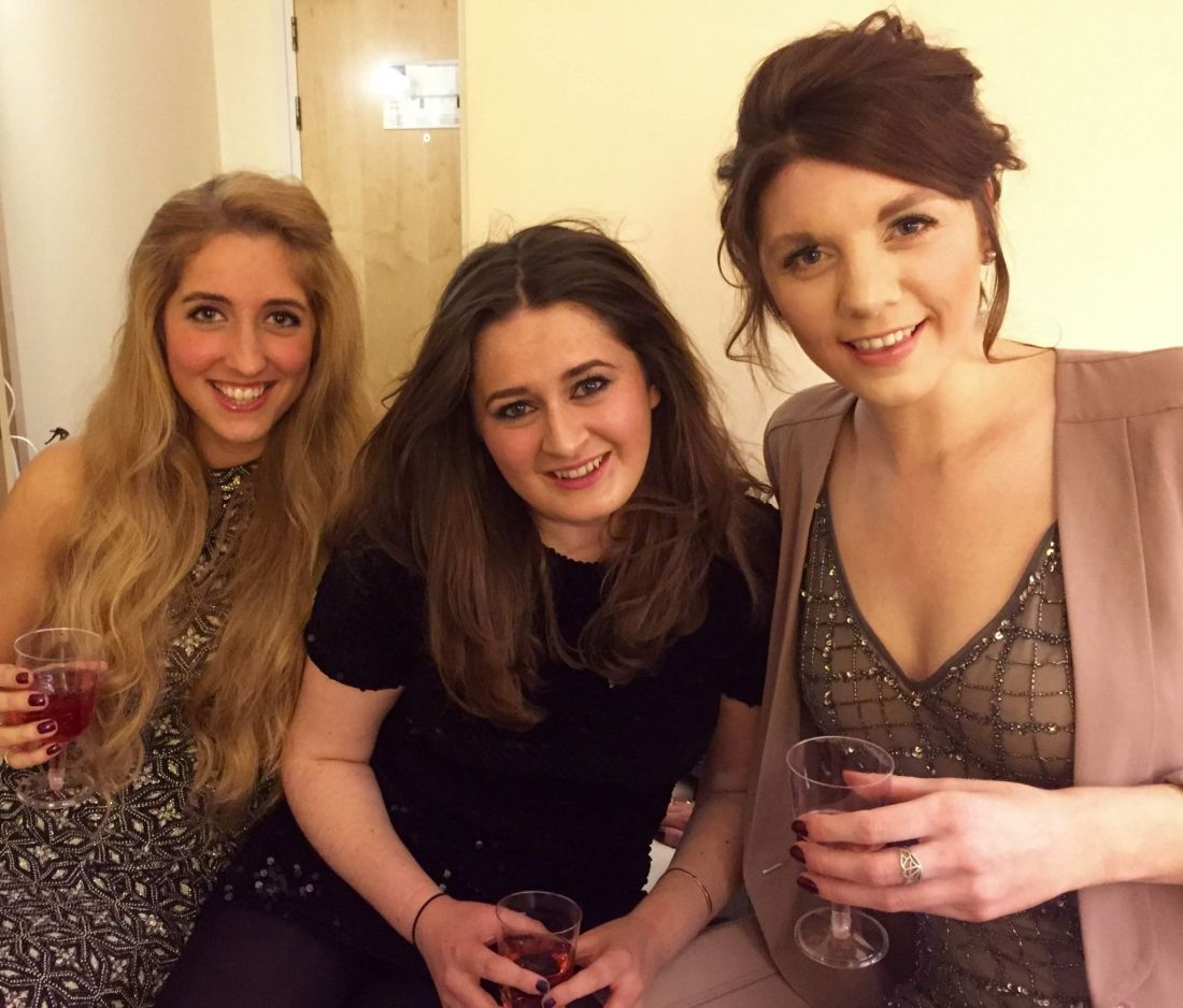 Girls ready for New Year's Eve in Cheltenham, Gloucestershire