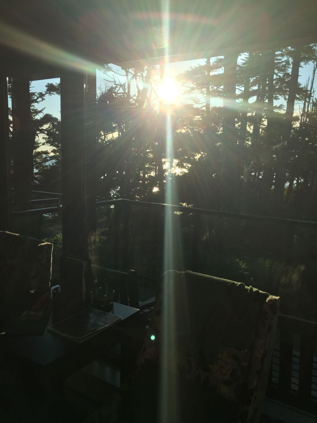 Sun on the balcony at Black Rock Oceanfront Resort in Ucluelet