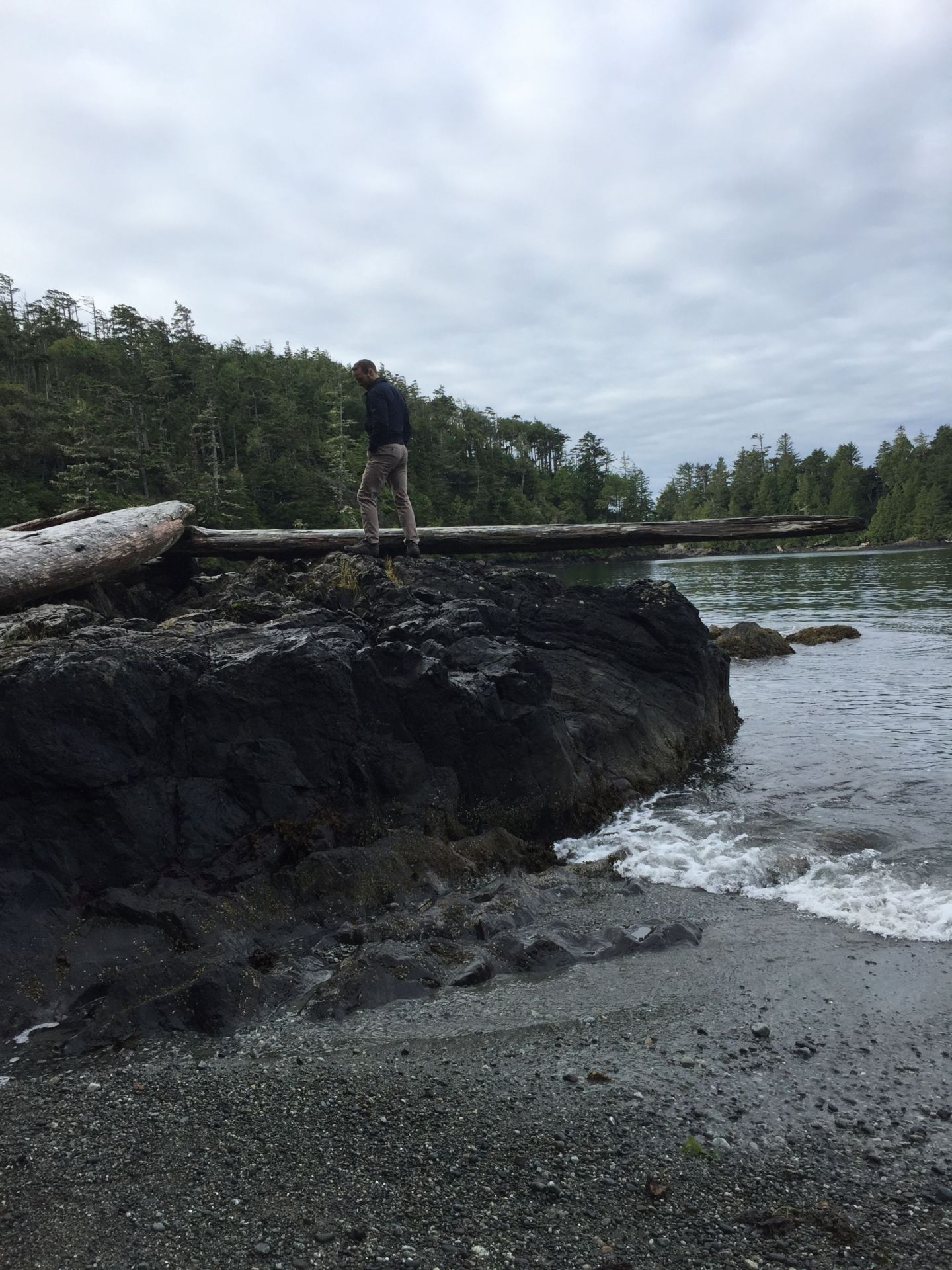 Climbing on a beach near Ucluelet, Vancouver Island