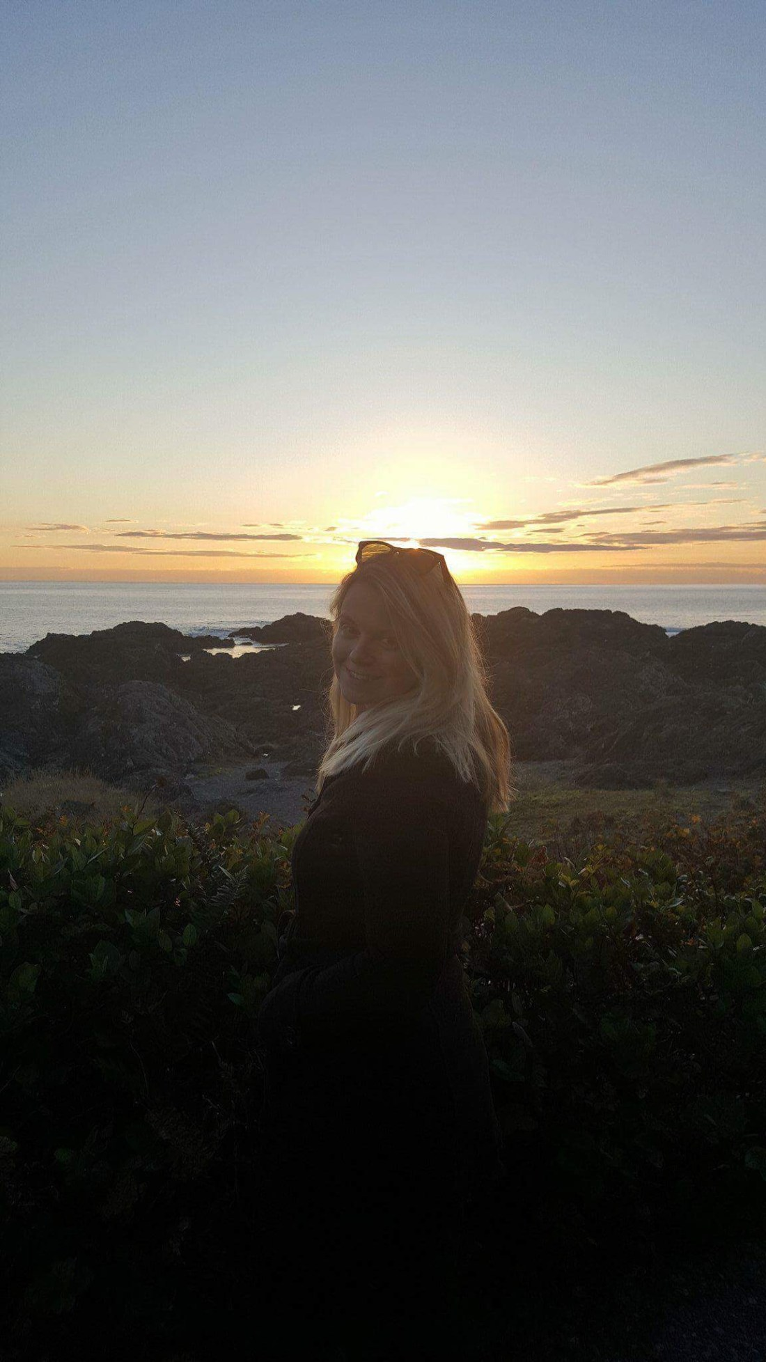 Laura in the sunset at Ucluelet