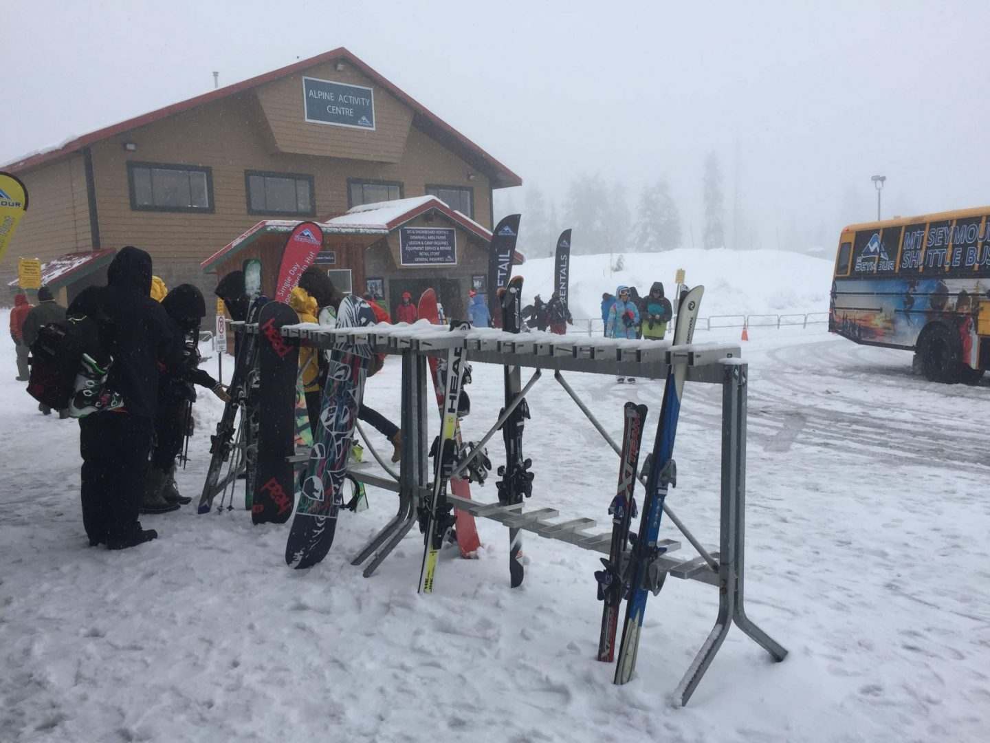 Racks of skis outside the lodge in Vancouver, BC