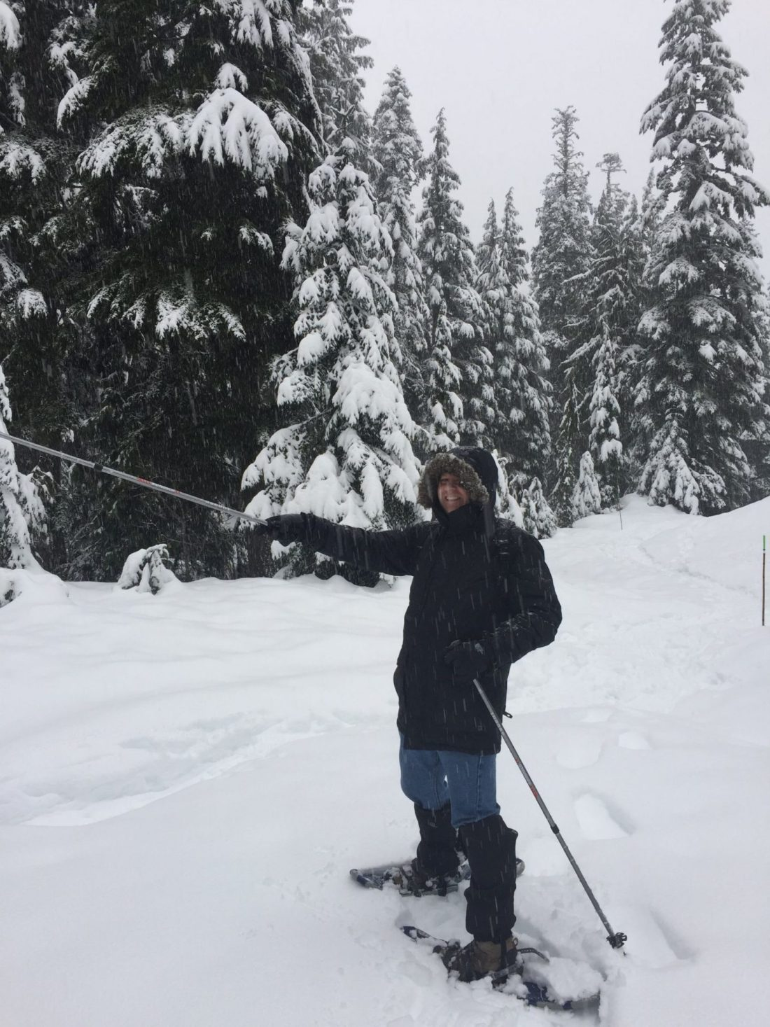 Dad on the snowshoeing trail on Mount Seymour, Vancouver