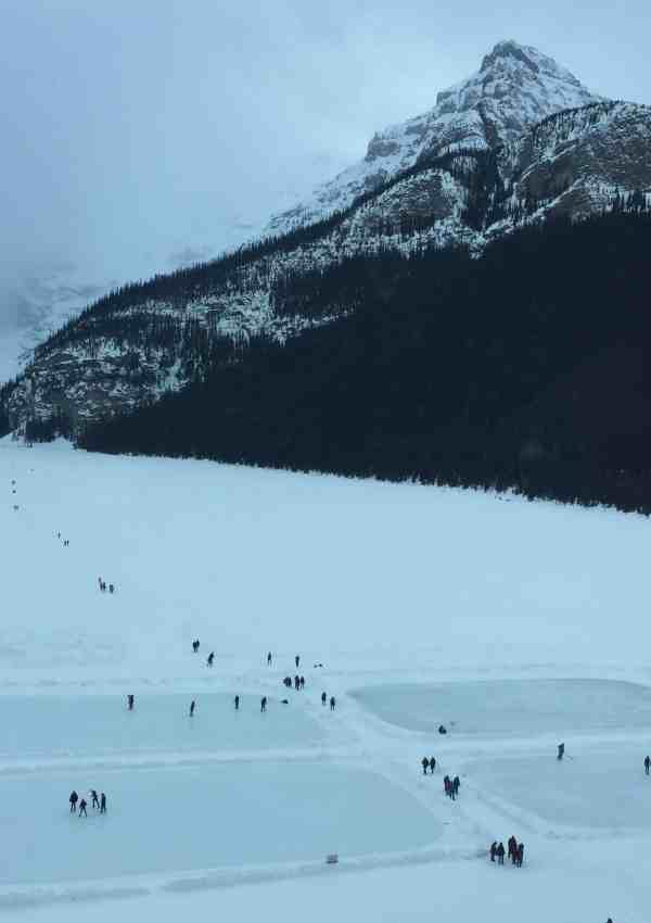 Frozen lakes for ice skating on Lake Louise, Banff