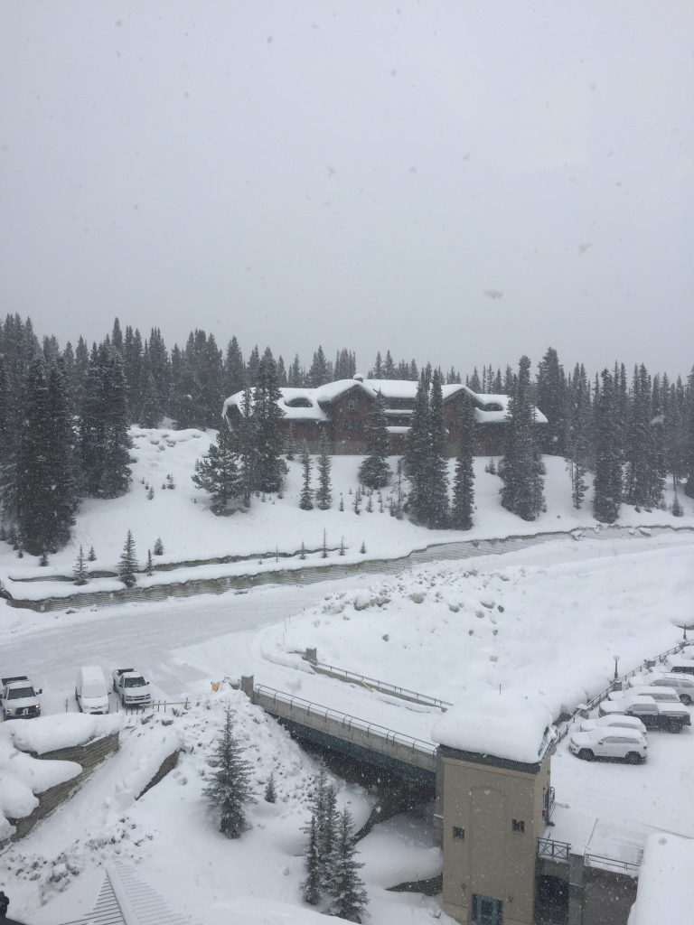 A snowy view from the Fairmont Chateau Lake Louise