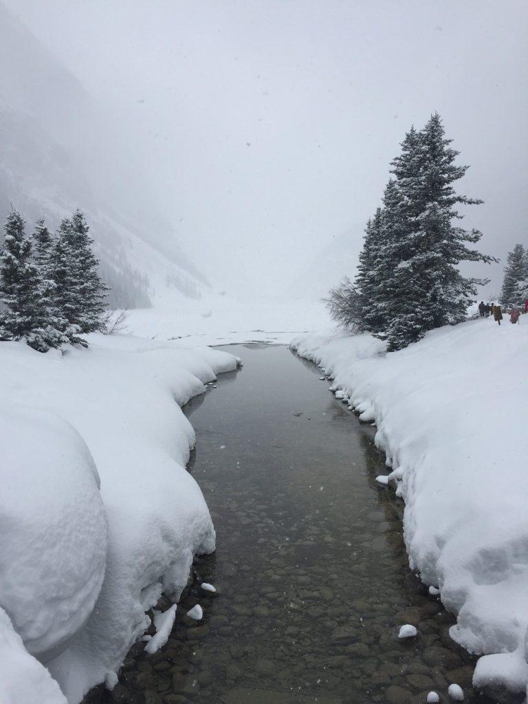 Beautiful snowy mountain views at Lake Louise