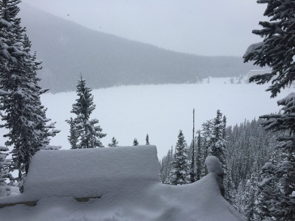 Feet of snow at the Lake Louise lookout view