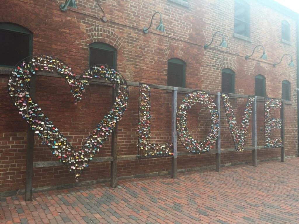 The love sign at Toronto's Distillery District