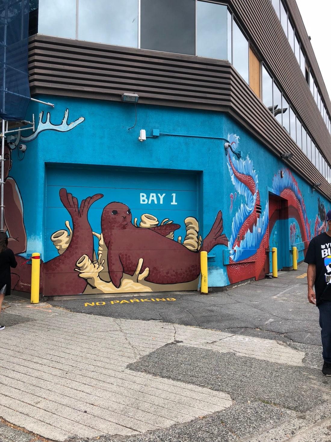Ocean themed mural in Vancouver