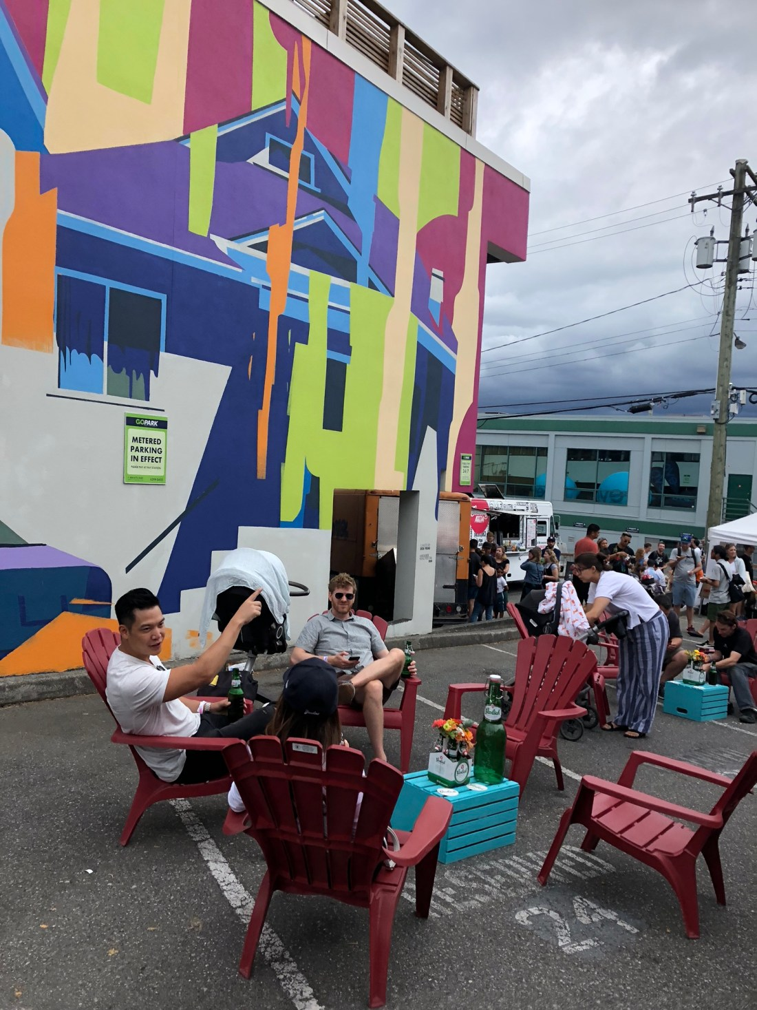 Grabbing a drink at the Vancouver Mural Festival