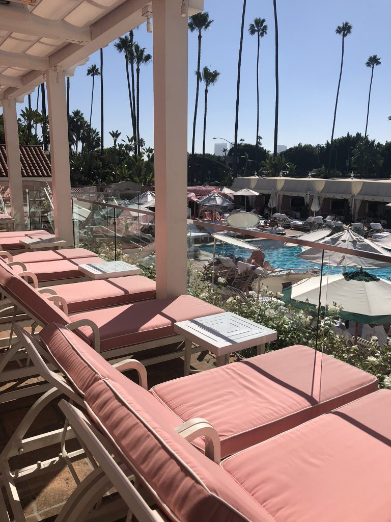 Pink sunbeds at Beverly Hills Hotel, LA