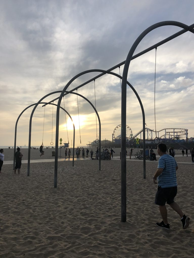 Muscle Beach, California at sunset