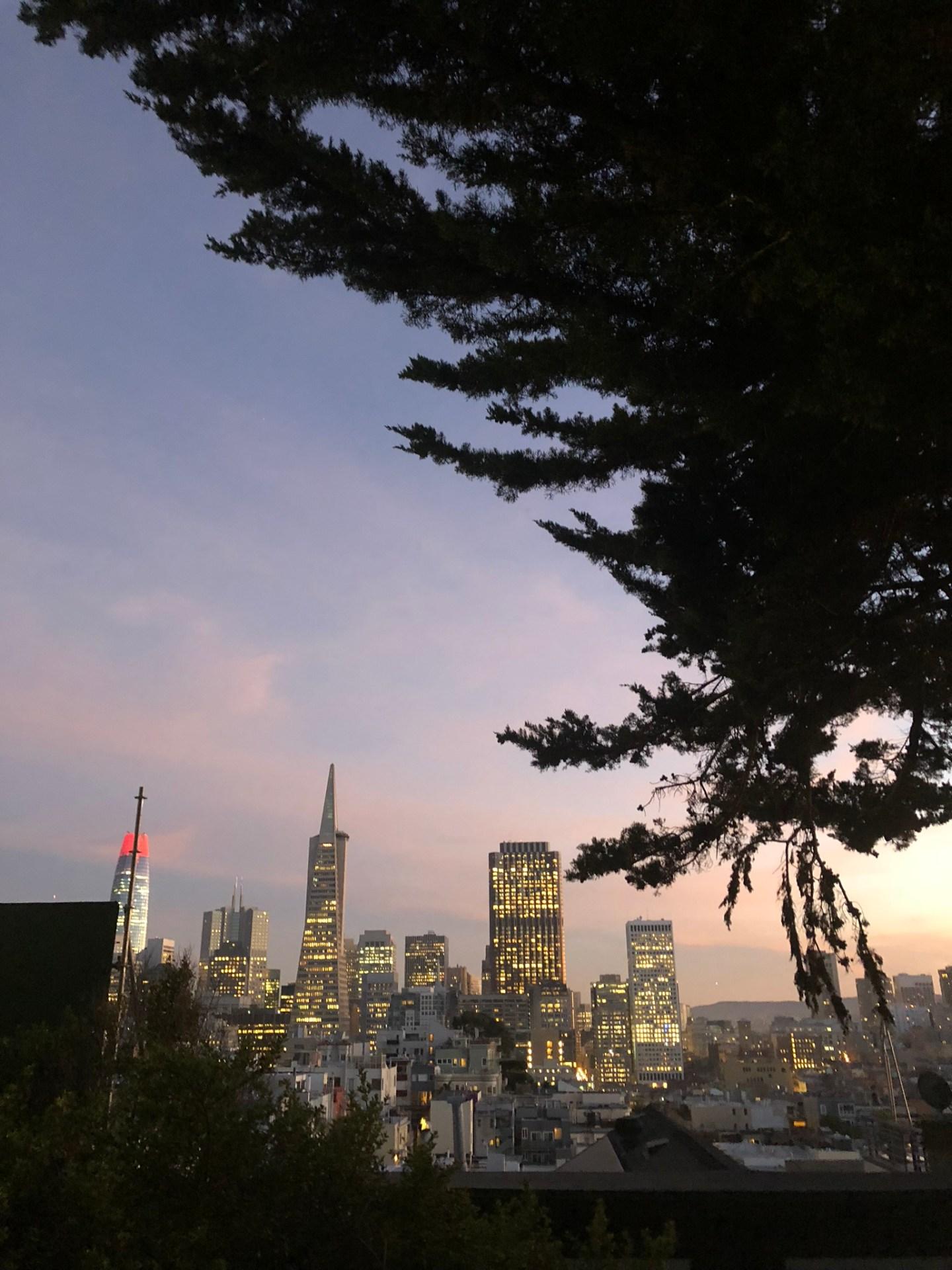 Sunset over the San Francisco skyline