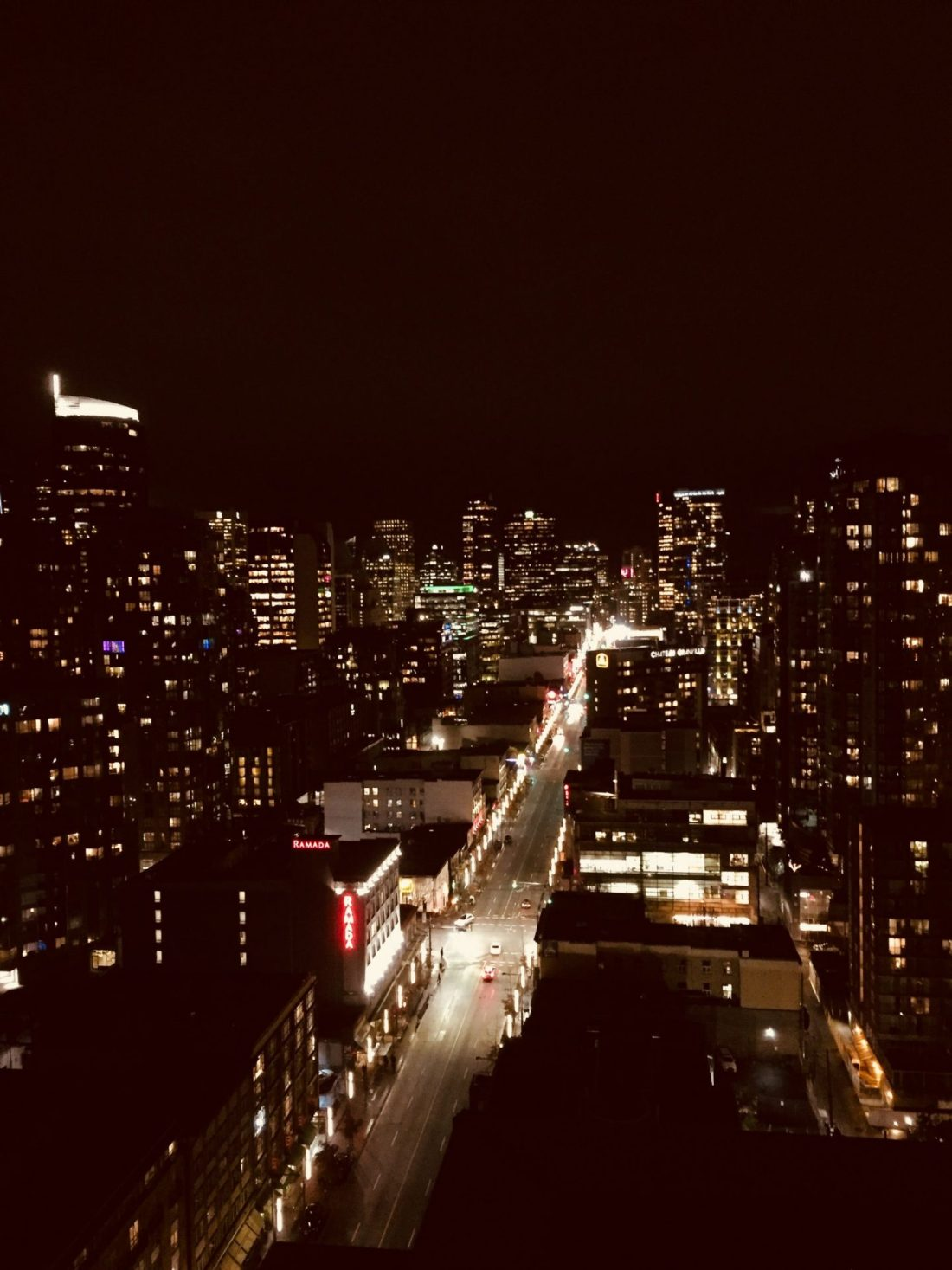 Vancouver downtown skyline at night