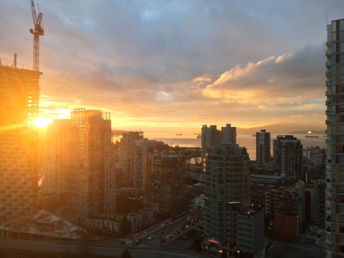 Sunset across downtown Vancouver