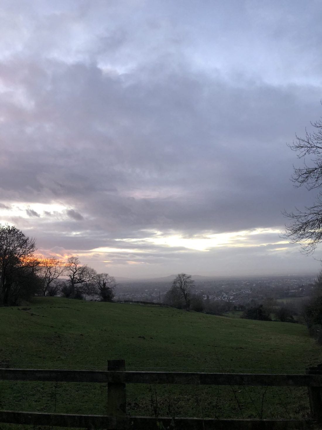 Home for the holidays: sunset over Cheltenham in December