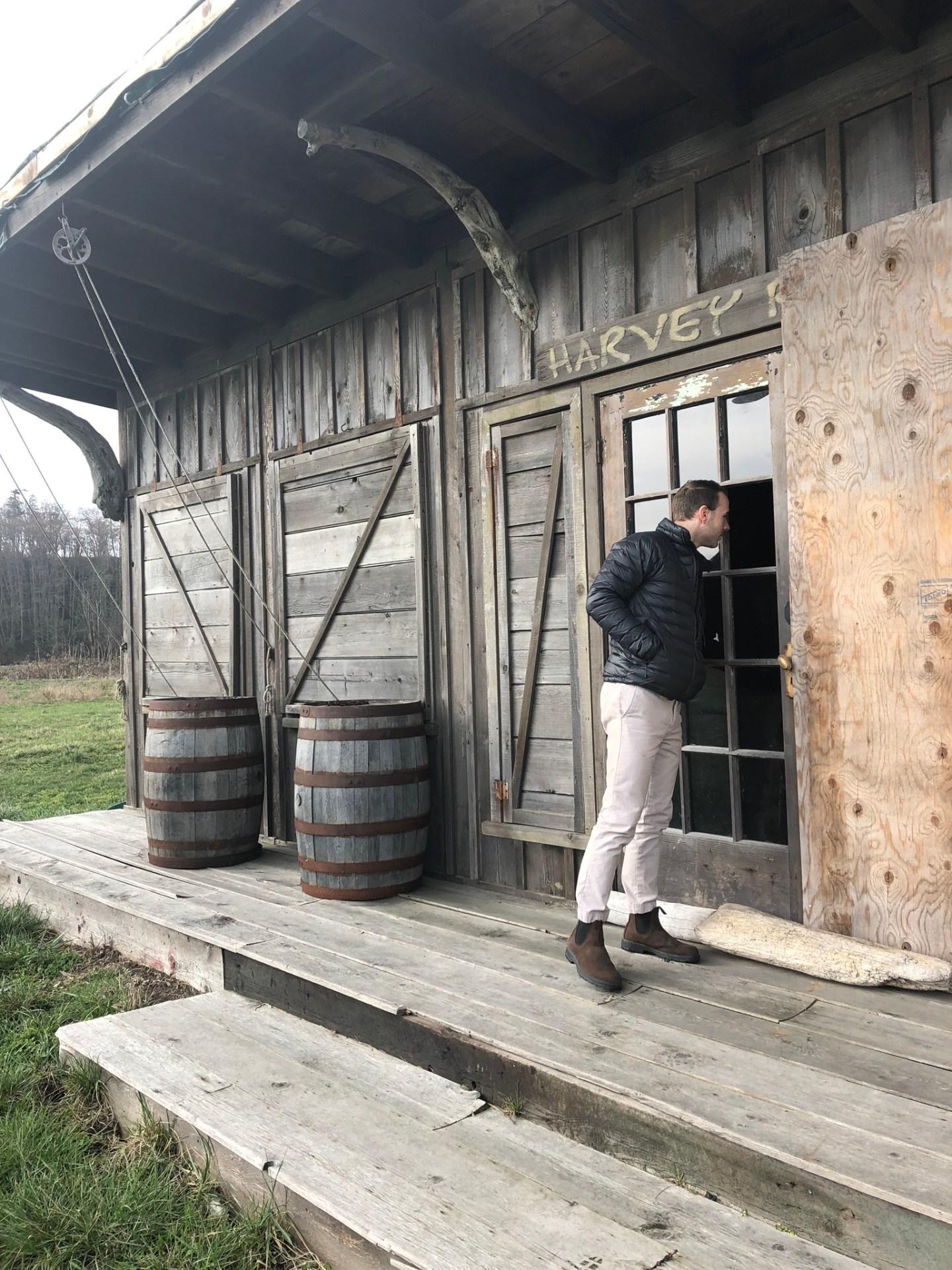 Taking a peek inside the hut on Vancouver Island