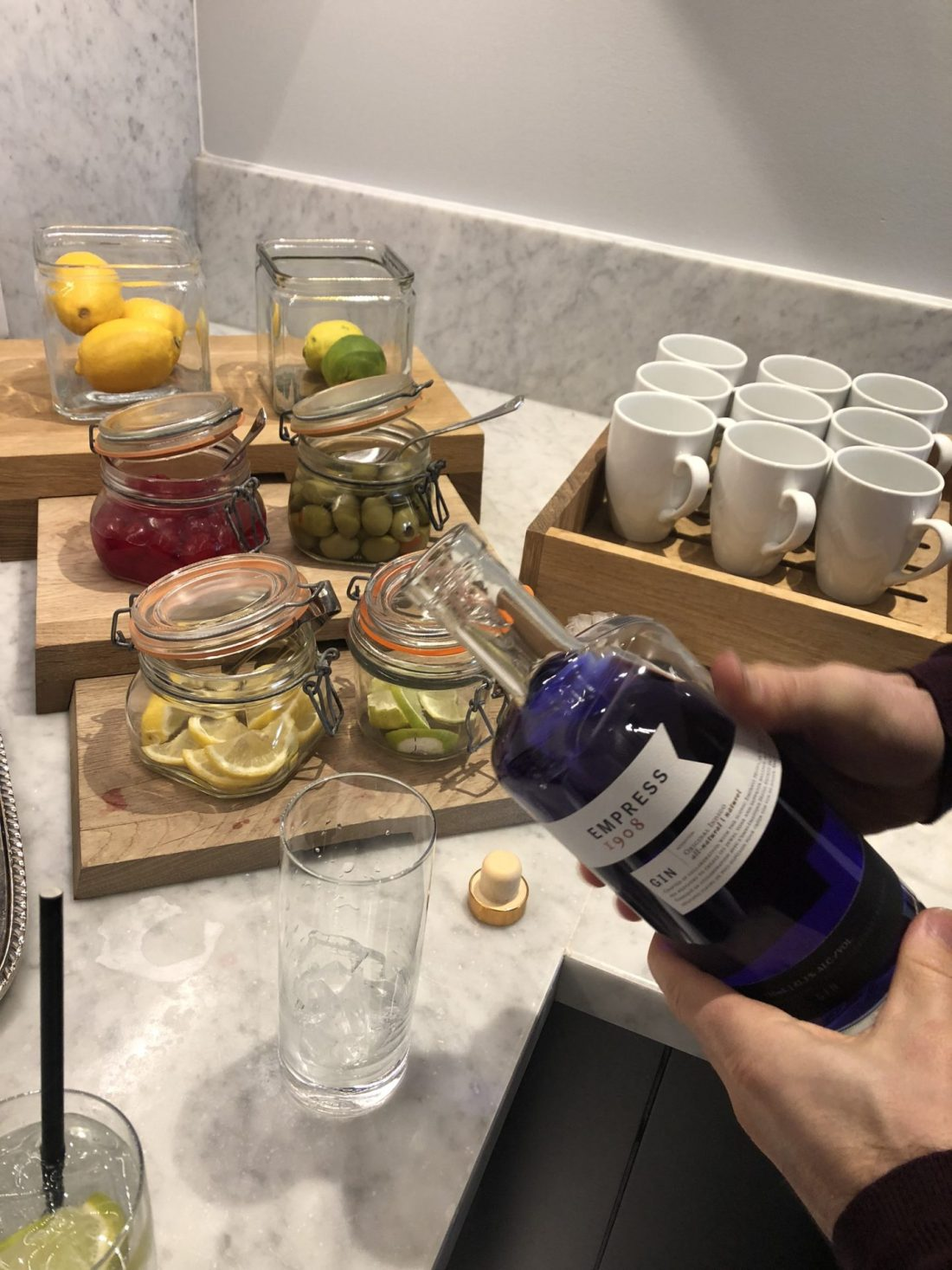 Empress indigo gin in the Fairmont Empress Gold Lounge, Victoria