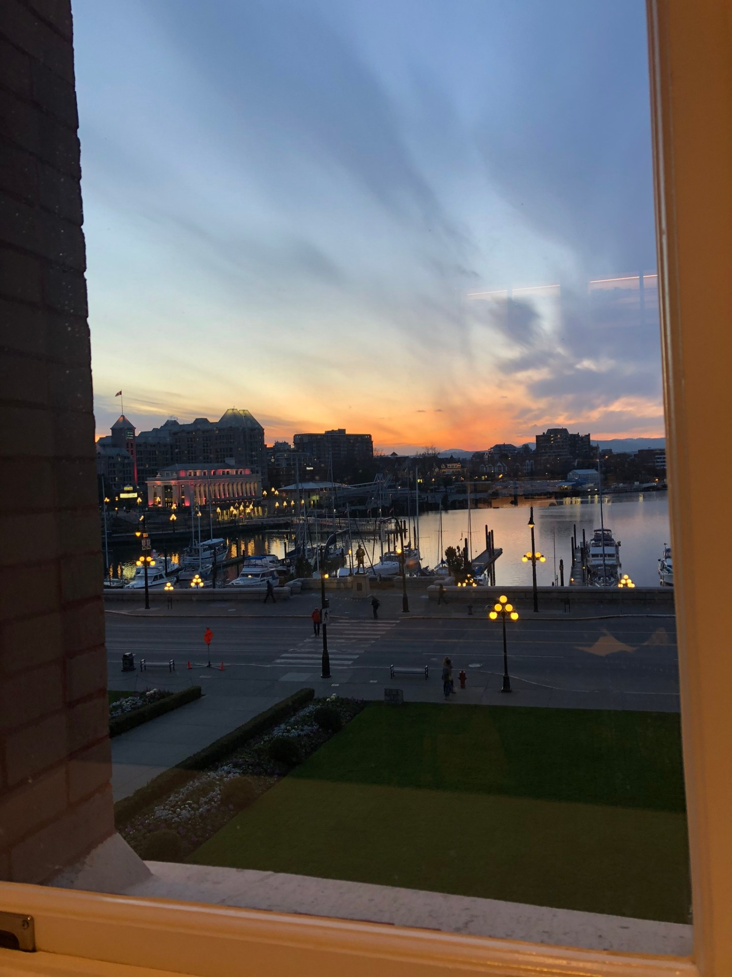 Sunset across Victoria harbour from the Fairmont Empress