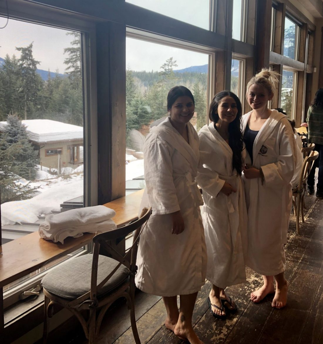 Girls at the Scandinave Spa, Whistler