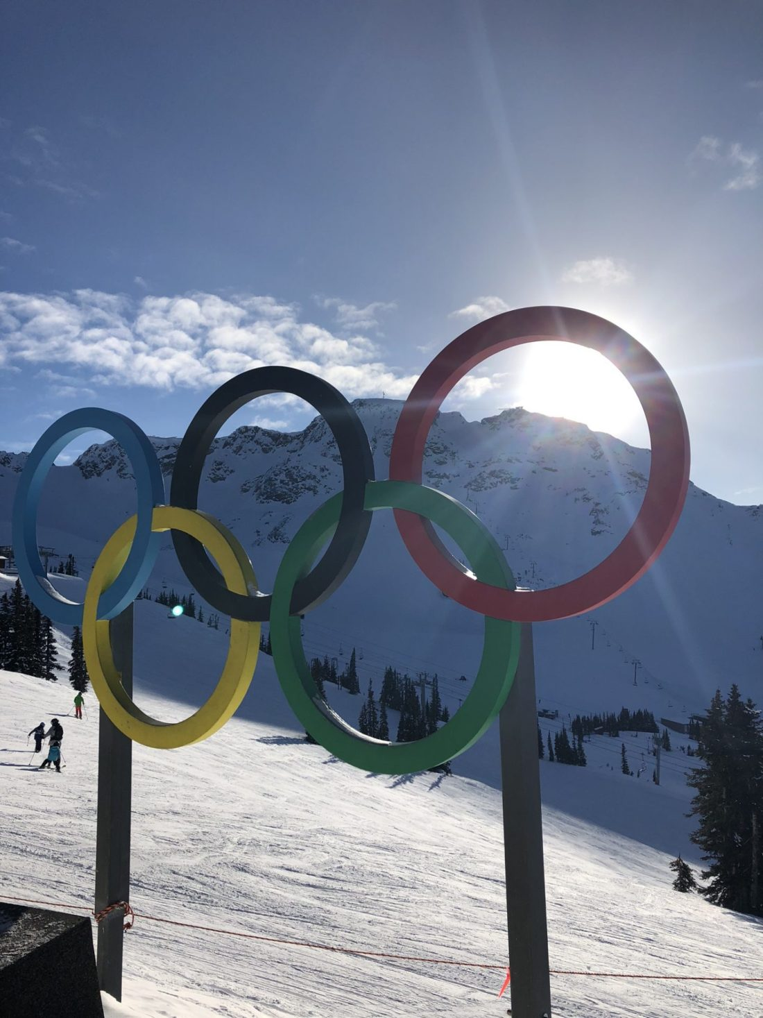 Olympic rings at the top of Whistler mountain, British Columbia