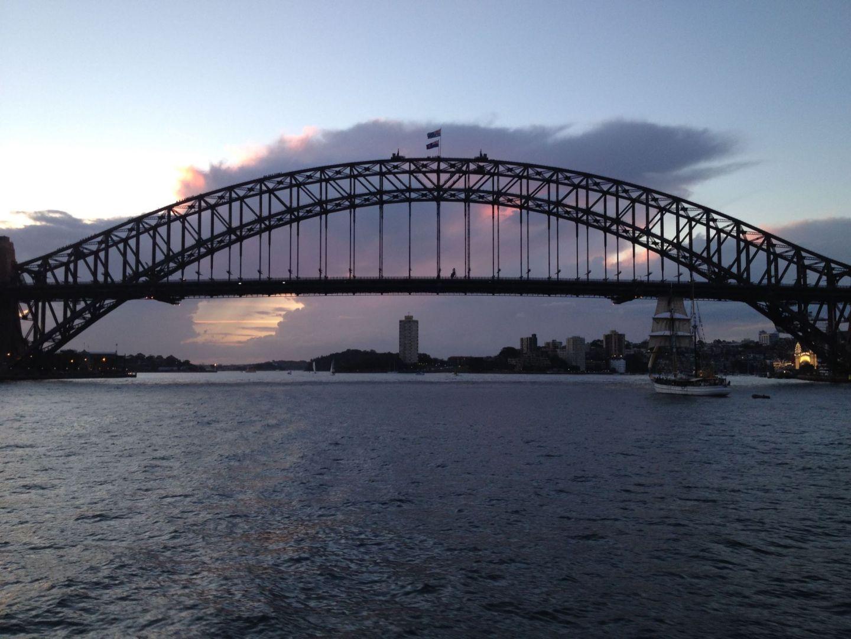 A sunset behind Sydney Harbour Bridge