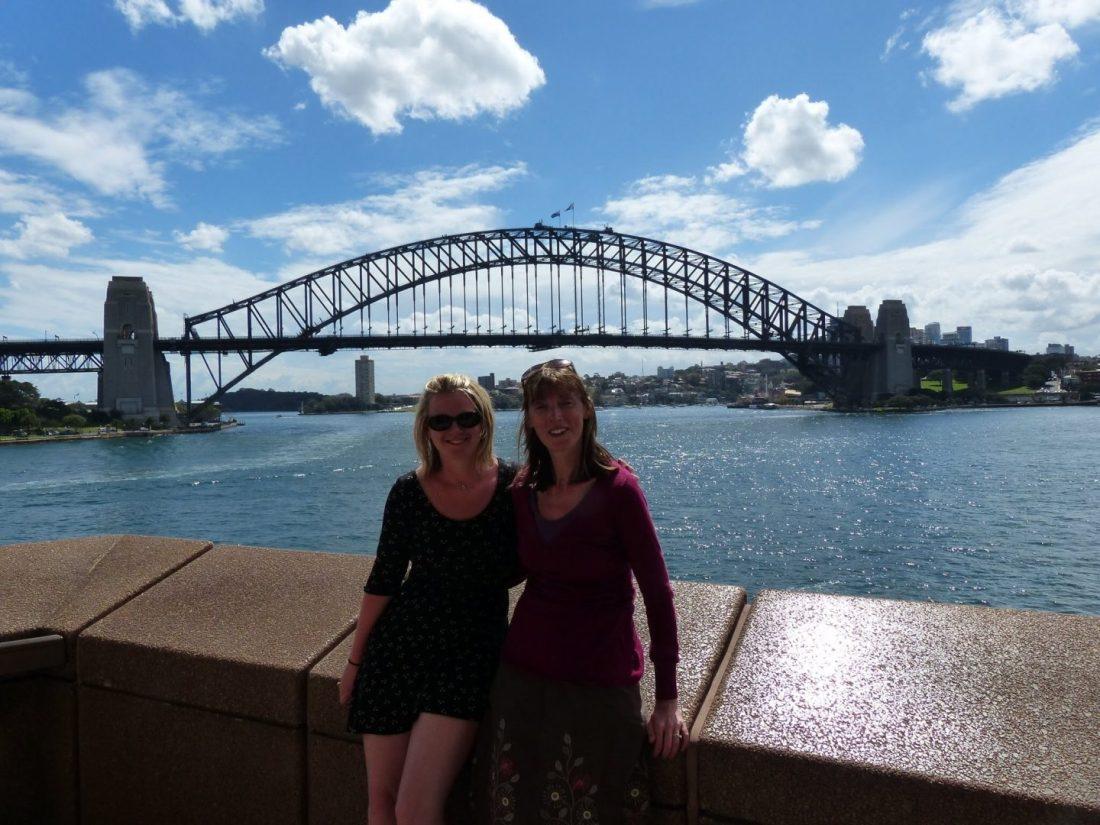 Laura and Mum in front of Sydney Harbour Bridge