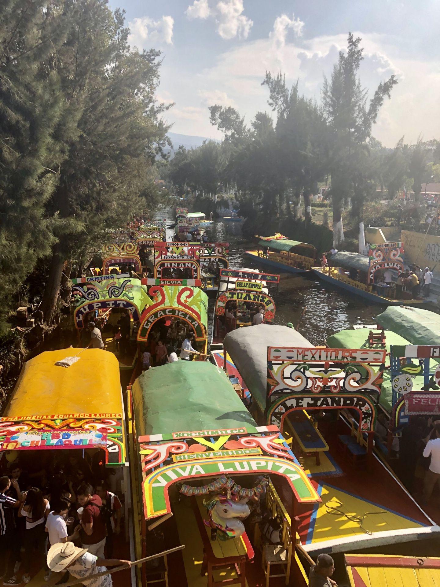 Trajineras at Xochimilco, Mexico City