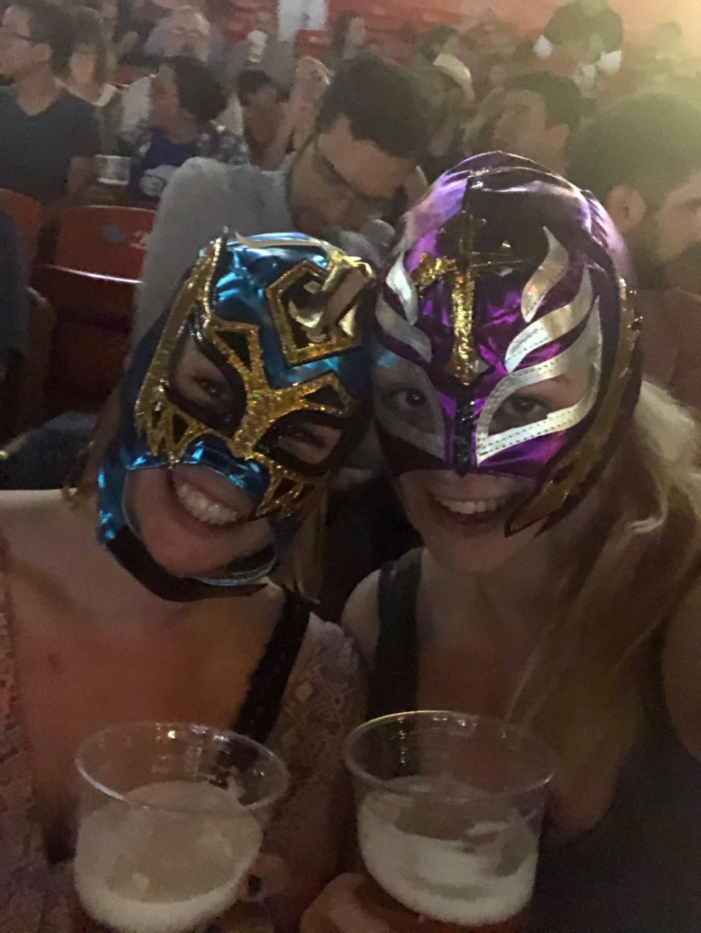 Girls in lucha libre masks