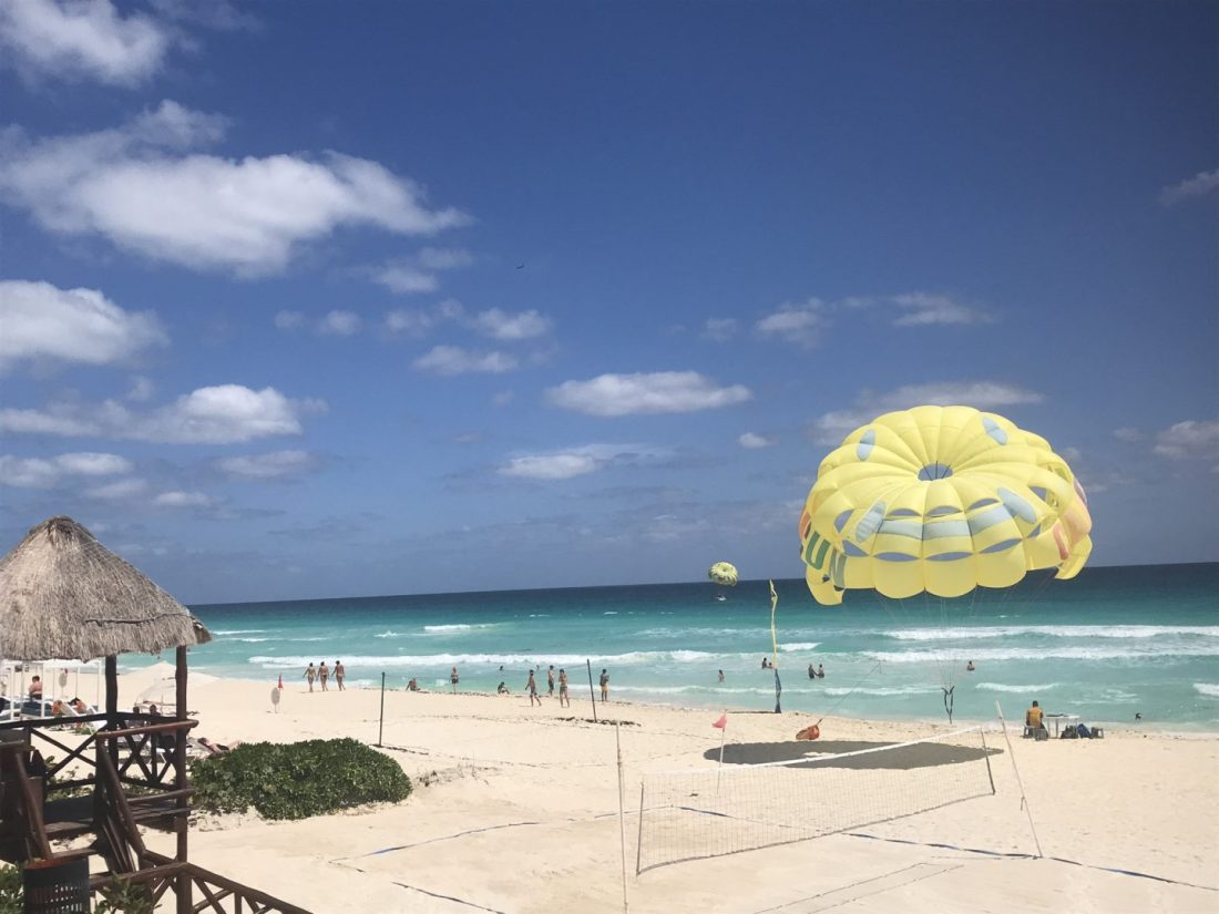 Parasailing from Secrets The Vine, Cancún