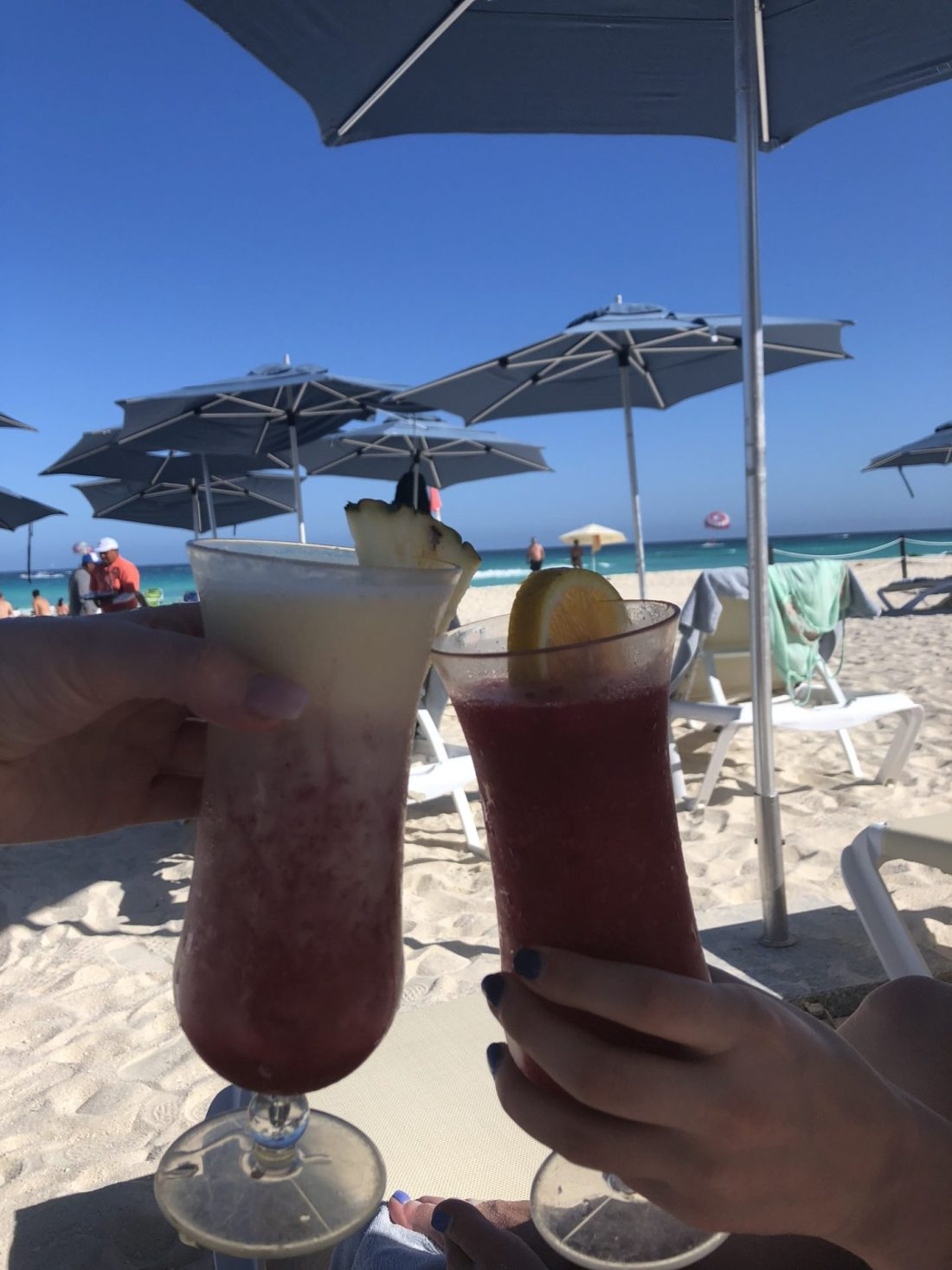 Cocktails at the beach in Cancun, Mexico