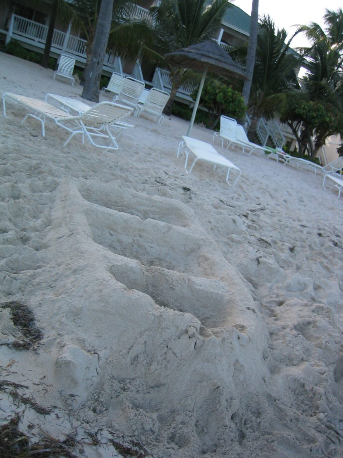 Sand sculpture on Coco Beach, Antigua