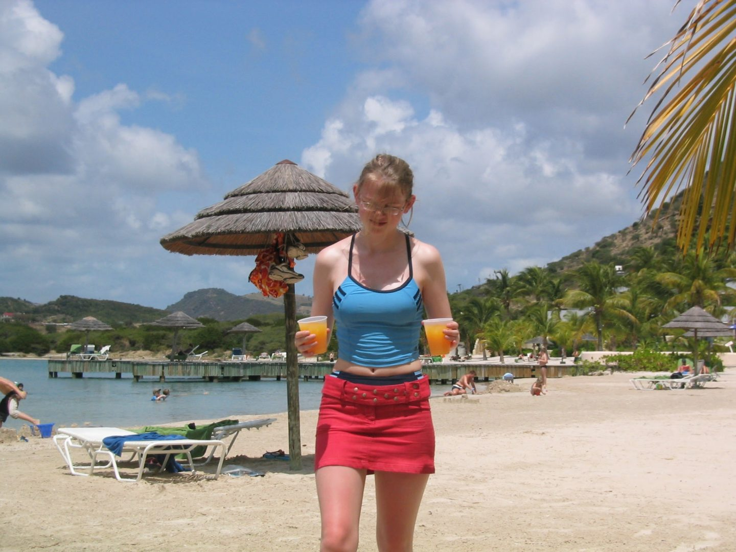 Grabbing drinks on the beach in Antigua