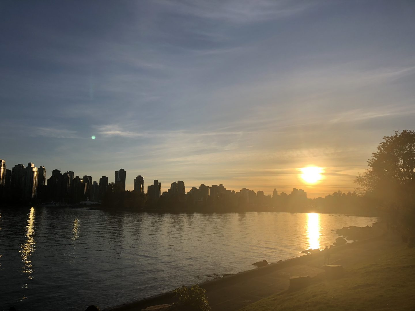 Living in Vancouver: views across Stanley Park at sunset