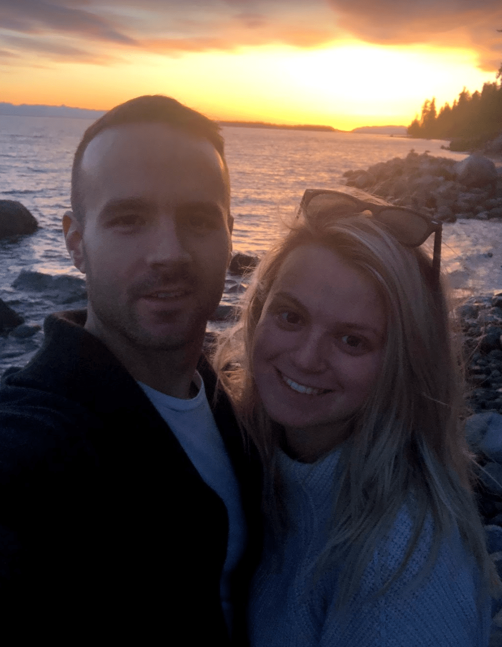 Laura and Jordan with the sunset of the north Sunshine Coast, British Columbia