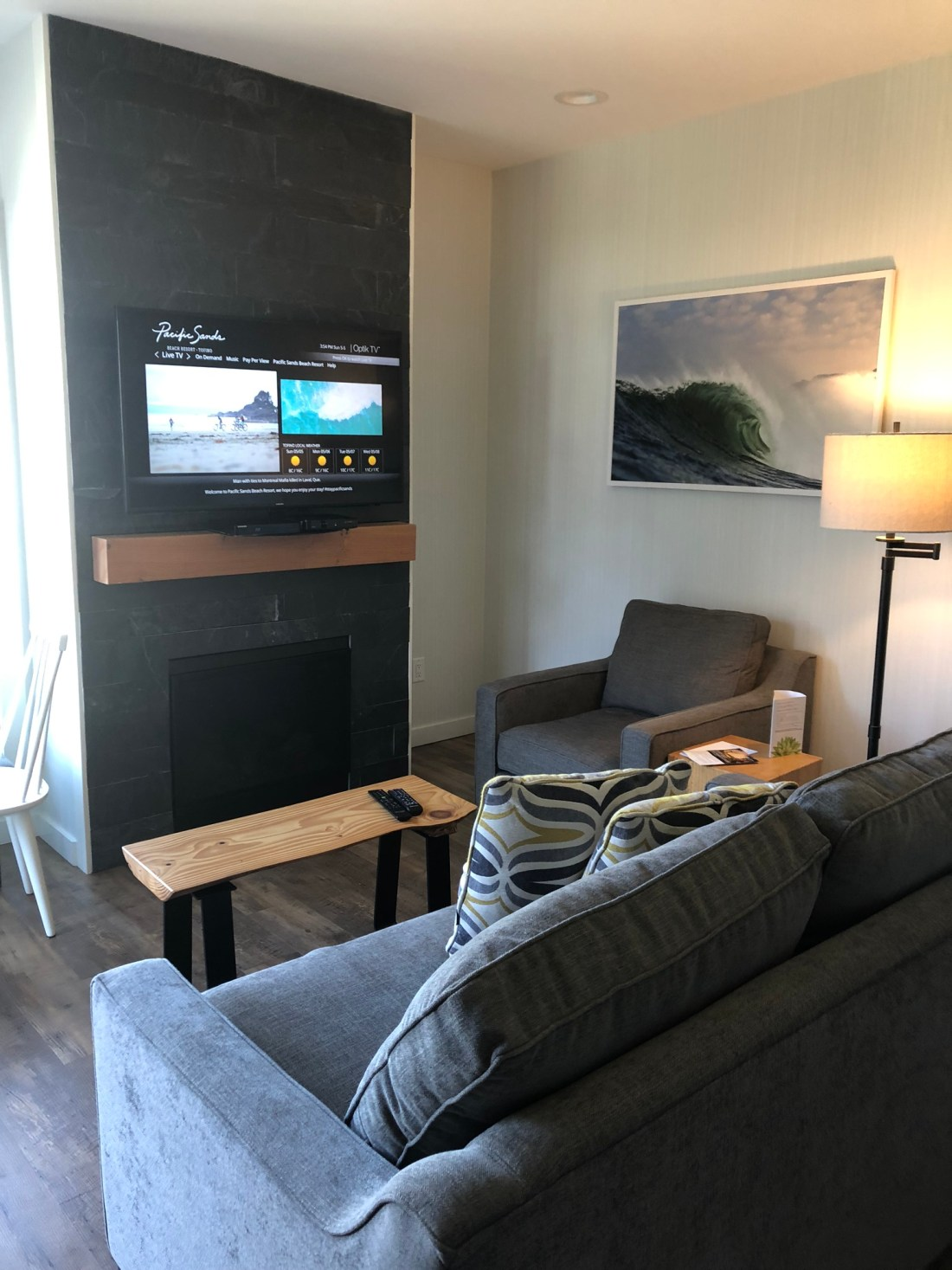 Living room at Pacific Sands Beach Resort, Tofino