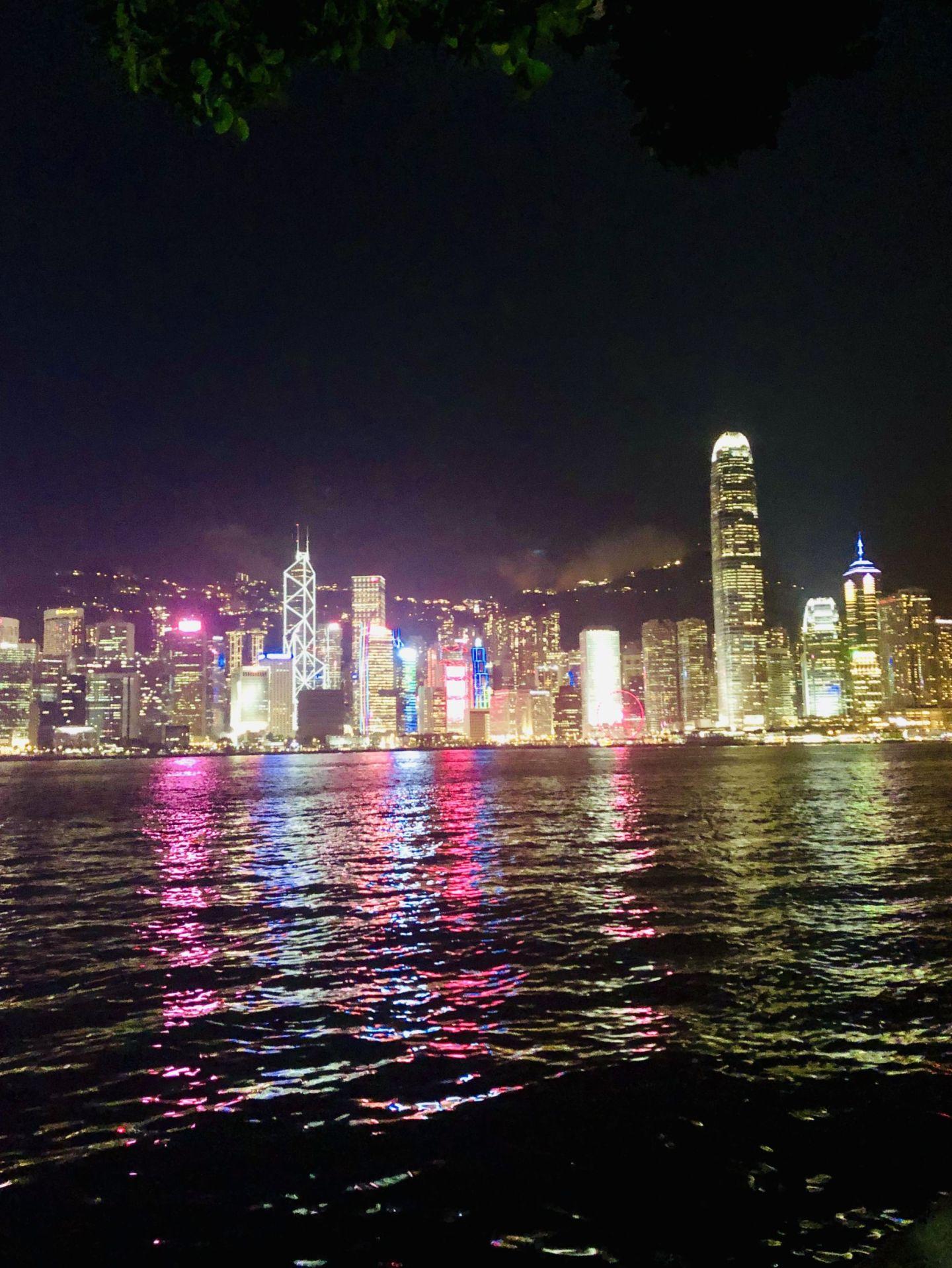 Hong Kong lights at Victoria Harbour