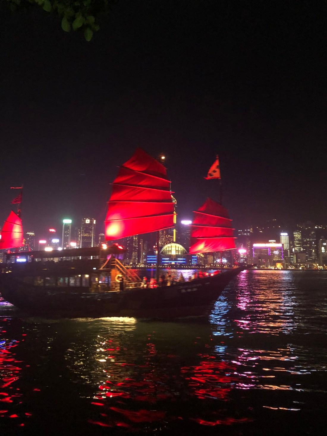 Sailboat at the Symphony of Light, Hong Kong