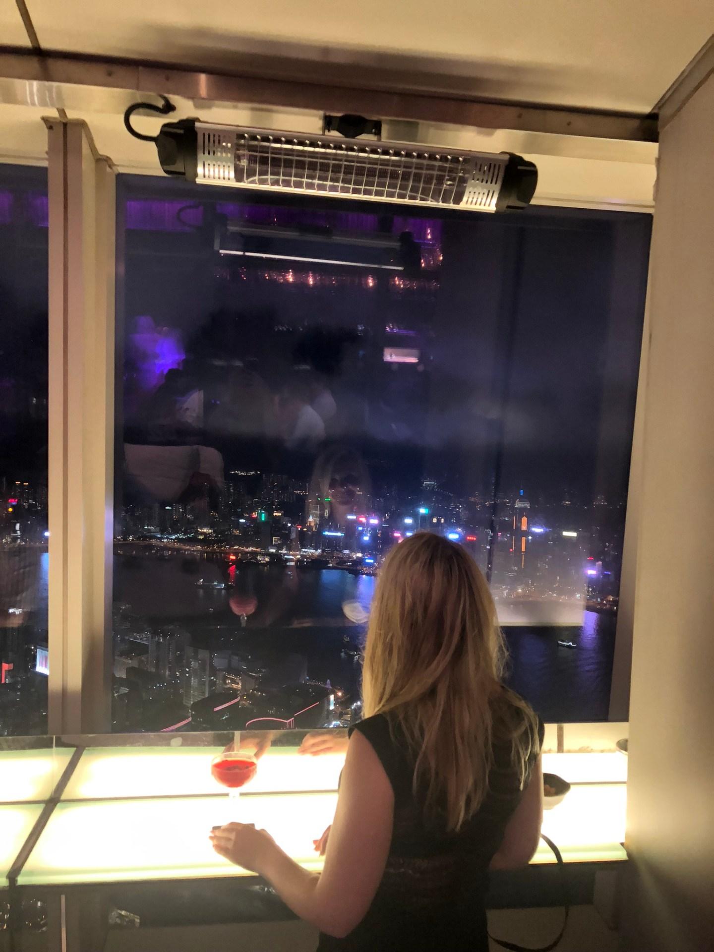 Laura at the Ozone Bar in Hong Kong