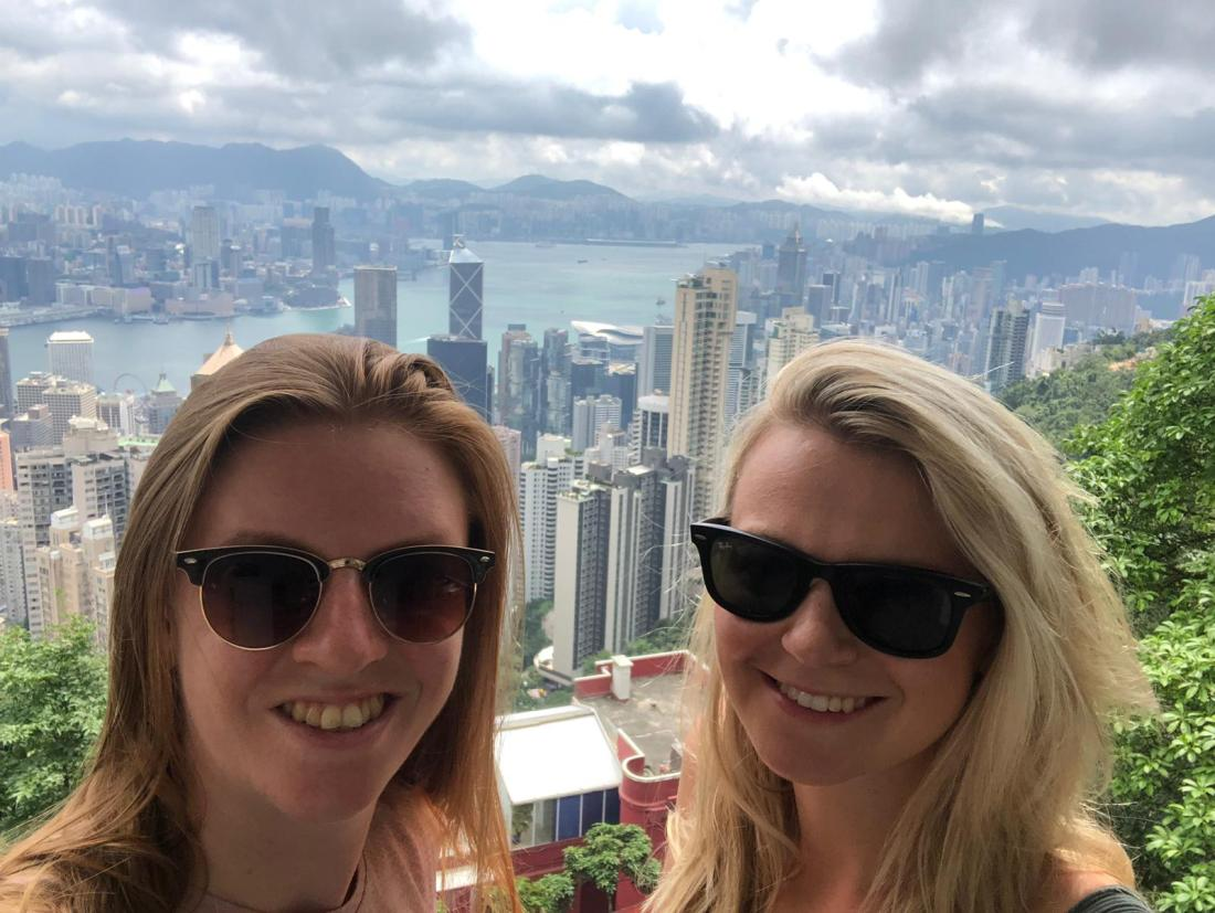 Girls at Lions Pavilion, Victoria Peak