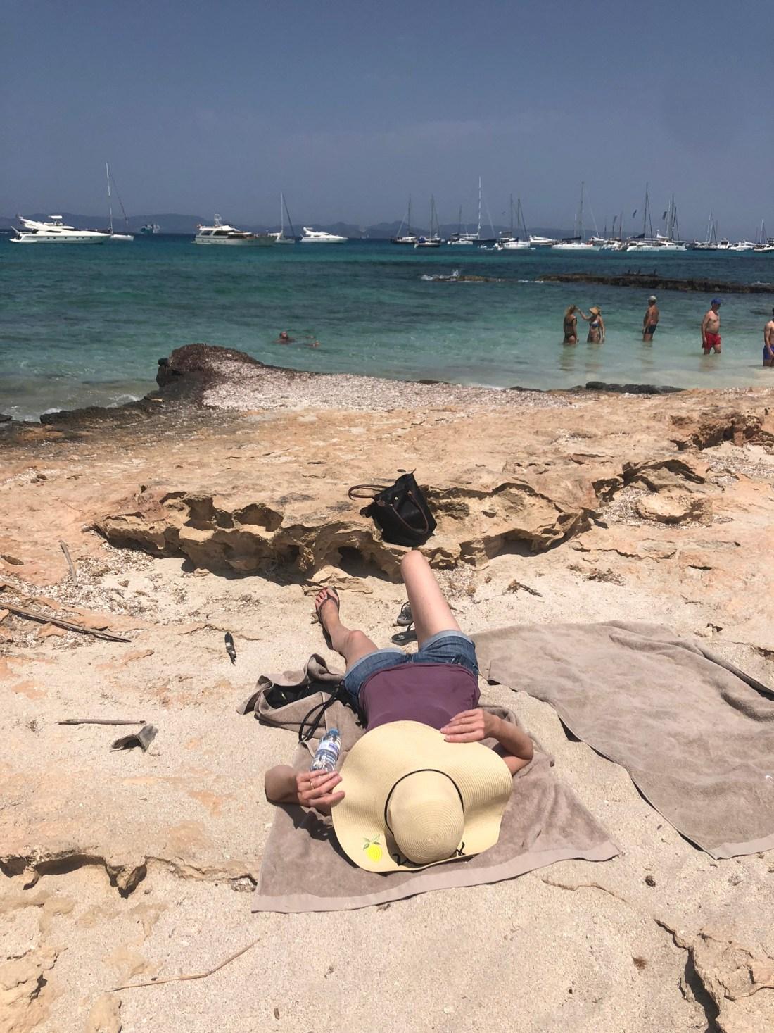Sunbathing in Formentera, Spain