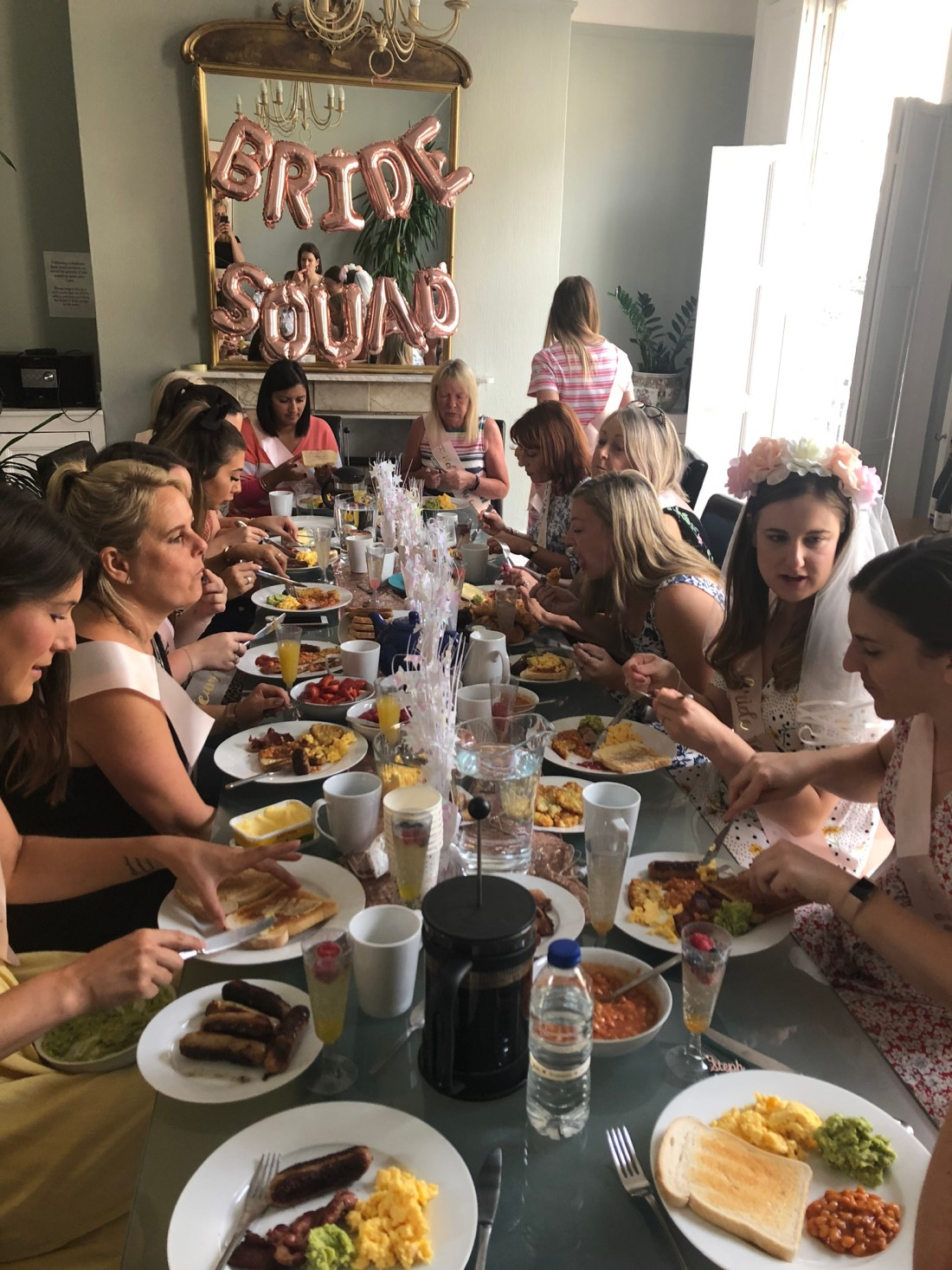 Hen do eating breakfast