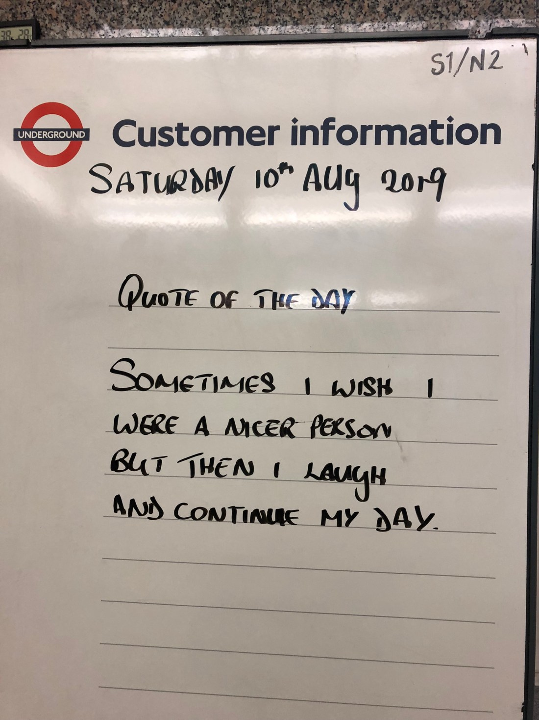 Tube quote in London
