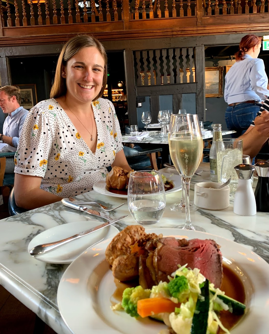 Roast dinner at Lygon Arms, Worcestershire