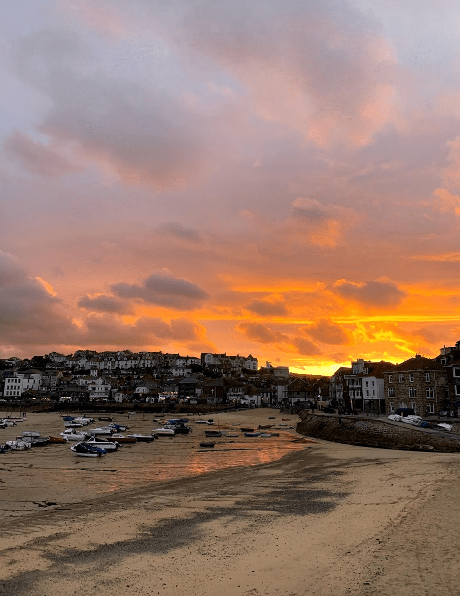 Sunset over St Ives Harbour