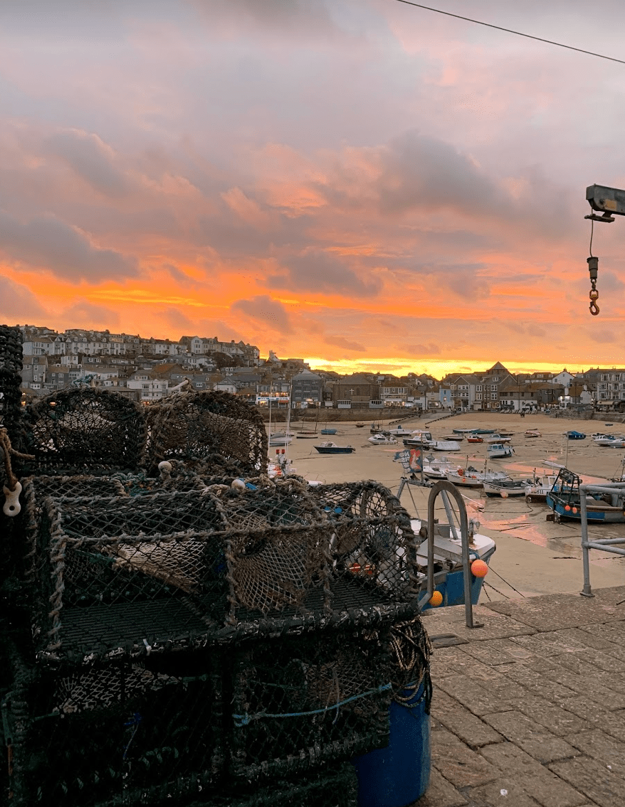 Lobster cages at sunset