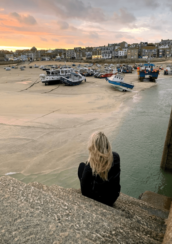 Laura in St Ives at sunset