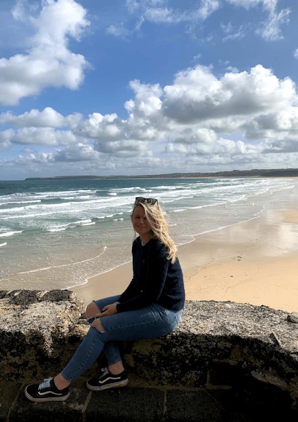 Laura overlooking Porthkidney Beach, Lelant