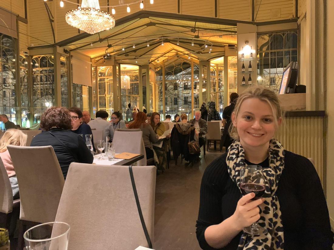 Laura at dinner in Kappeli